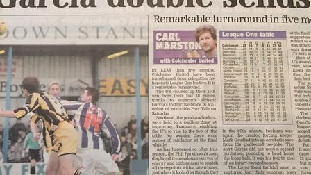 How the EADT reported on the U's 2-1 home win over Port Vale in January, 2006