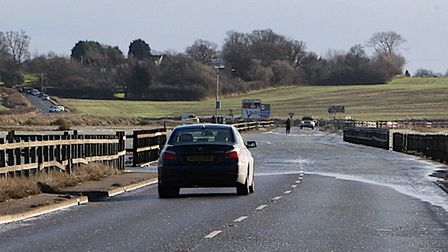 The Strood is impassable during high tides, particularly for smaller vehicles. Picture: SEANA HUGHES