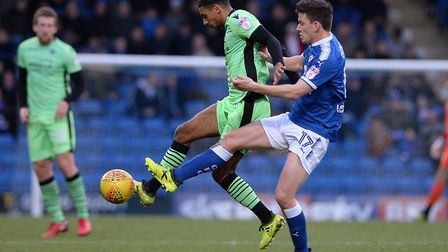 Brandon Comley, under pressure from Chesterfield's Conor Dimaio during the recent 0-0 draw in Derbys