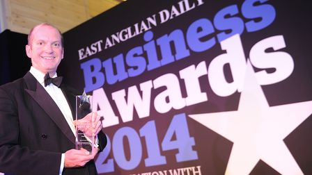 Barry Chevallier Guild at the EADT Business Awards in 2014 when Aspall won the overall Business of t