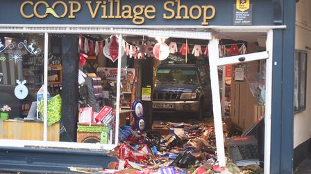 A vehicle was also reversed into a Co-op store in Lavenham High Street on December 21. Picture: ARCH
