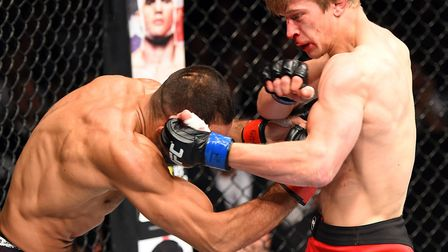 Arnold Allen, right, on his way to a win over Alan Omer in his UFC debut in Germany in June 2015. Pi