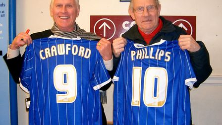 Former Ipswich Town strikers Ray Crawford (left) and Ted Phillips were reunited at a book signing se