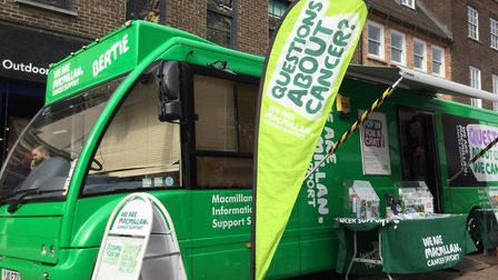 The Macmillan bus will be in Suffolk whti month with specialists on hand to offer advice and support