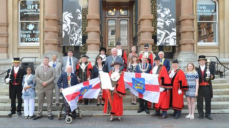 Mayors from across Suffolk got together as the 'chain gang' in Ipswich to celebrate Suffolk Day. Th