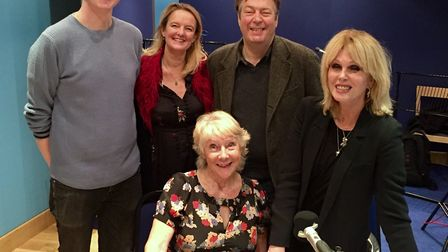 At the recording of the radio comedy, Suffolk writer Jan Etherington (seated), is pictured with Joan
