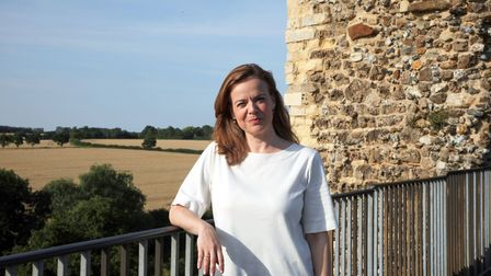 Helen Castor at Framlingham Castle during the making of England's Forgotten Queen: The Life and Deat