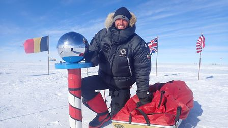 Scott Sears at the South Pole after his record-breaking trek. Picture: SCOTT SEARS