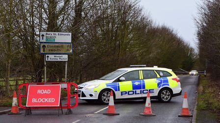 Elmswell Road in Woolpit was cordoned off as police investigated the scene of an unexplained death.