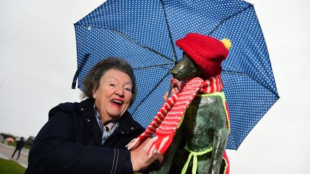 Snooks with Margaret Boswell, whose grandmother funded the original statue. Picture: SARAH LUCY BRO