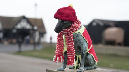 Aldeburgh's Snooks has been dressed in knitwear. Picture: SARAH LUCY BROWN