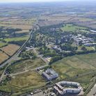 An eerial image of Essex University's Wivenhoe campus. The new link road would run from the road (ce