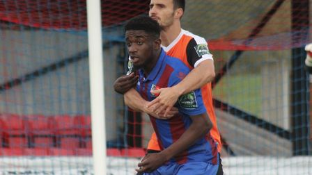Junior Ogedi-Uzokwe, in action for Maldon & Tiptree, is embracing the challenge at new club Colchest