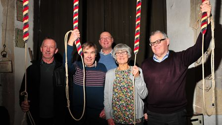 Bell ringers at St Mary's Church, Kersey. Left to right: Kevin Ward, Neville Whittell, Bob Howe, Ka