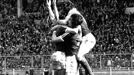 At last! Ecstatic Town players after the winning goal at Wembley in 1978. Roger Osborne is in the mi