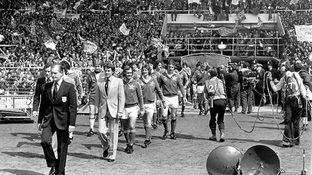 The teams emerging from the tunnel for the 1978 FA Cup Final. The Town fans were massed at the tunne