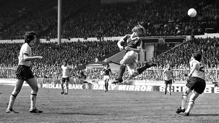 A rare sight indeed - Clive Woods heading the ball! This effort didn't trouble Arsenal keeper Pat Je