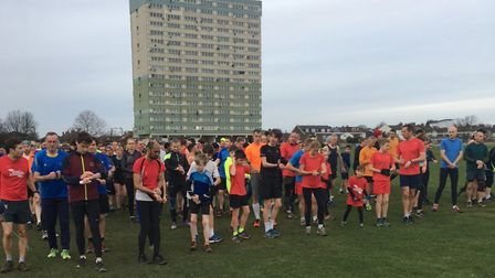 It was a 9am start for runners at the Wanstead Flats parkrun, in East London, on New Year's Day. Pic