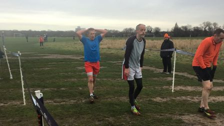 It was tough going on a boggy course at the Wanstead Flats parkrun, as these exhausted runners in th