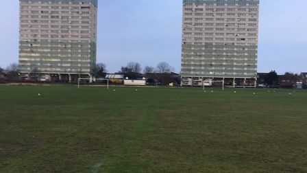 The venue for the Wanstead Flats parkrun on New Year's Day, with two distinctive tower blocks in the