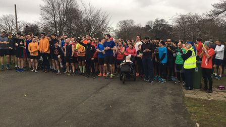 Runners get ready to start the Valentines parkrun in Ilford on New Year's Day. Picture: CARL MARSTON