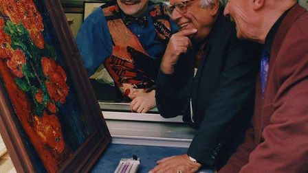Anthony Coe, George Melly and Colin Moss at The John Russell Gallery, Ipswich. Photo: Contributed