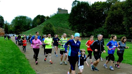 The first 'parkrun' taking place in Clare Castle Country Park on Saturday morning. Picture: ANDY