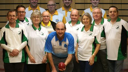 Mark Royal (front centre) with members of Rookery Bowling Club in Stowmarket. Picture: ROOKERY BOWLS