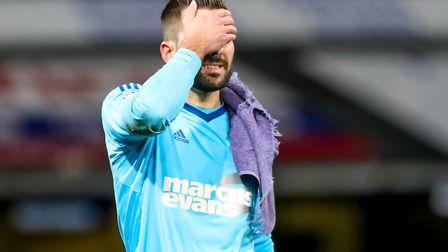 Bartosz Bialkowski reacts to Ipswich Town's FA Cup exit to Sheffield United. Photo: Steve Waller