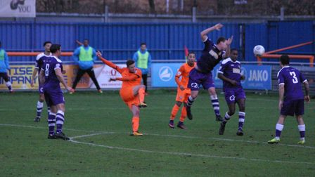 Billy Crook opens the scoring for Braintree at home to East Thurrock on Saturday. Photos; JON WEAVER