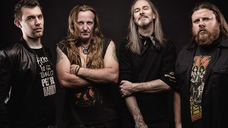 Trespass from left to right: Jason Roberts (drums), Mark Sutcliffe (lead guitar, vocals), Joe Fawcet