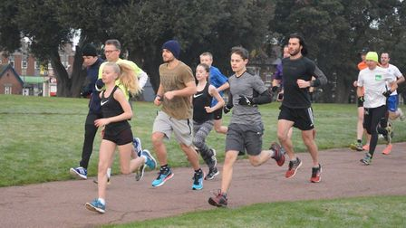 The start of the Harwich parkrun, with Kiera-Jayne Atkinson (black vest) already to the fore