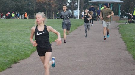 Kiera-Jayne Atkinson on her way to second spot and the first female finisher at the Harwich parkrun