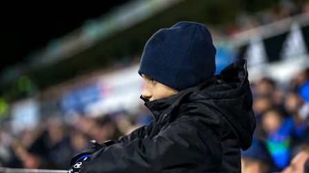 A young Town fan watches during the Ipswich Town v Sheffield United match on Saturday. Picture: S