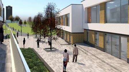 Artist's impression showing the Parkside Office Village's second phase, with the university's North