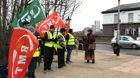 Members of the RMT stage a picket line opposite Ipswich station. Picture: LAUREN DE BOISE