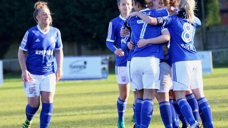Ipswich Town players celebrate Cassie Craddock's opening goal. Picture: ROSS HALLS