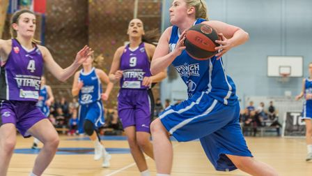 Harriet Welham scored 35 points for Ipswich in their huge win over Northamptonshire Titans. Picture: