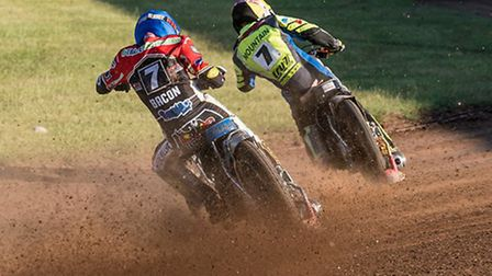 Ipswich's Connor Mountain leads Peterborough's Tom Bacon at Alwalton. Photo: STEVE HONE