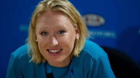 Elena Baltacha talks to the media after winning in the first round of the Australian Open back in 20