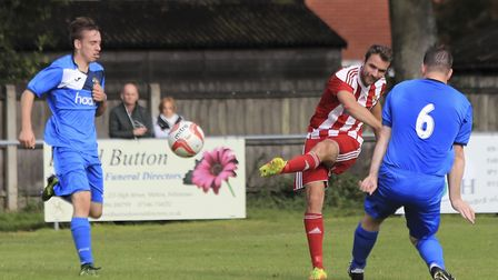 Joe Francis fires just wide for Felixstowe against Wivenhoe. Francis should be back from injury for