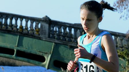 Justine Anthony on her way to victory in the senior ladies' race at the Suffolk County Championships