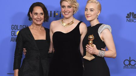 Laurie Metcalf, from left, Greta Gerwig and Saoirse Ronan, winners of the award for best motion pict