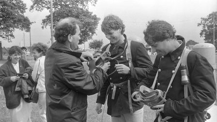 Trying out the equipment at the firefighter rally in 1981
