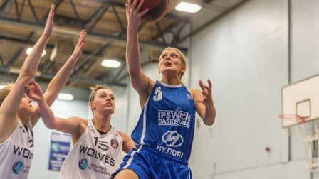 Grace Sinnott on the way to a simple layup for Ipswich. Picture: PAVEL KRICKA