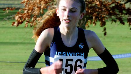 Holly Fisher, on her way to victory at the recent Suffolk County Championships, was first home in th