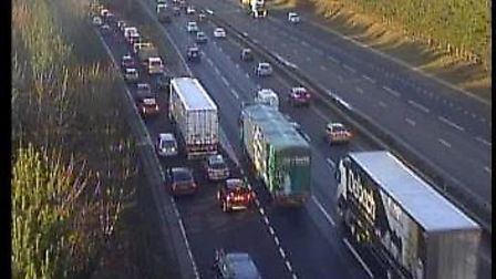 Traffic on the A14 this morning following a collision involving a tanker near Newmarket. Picture: HI