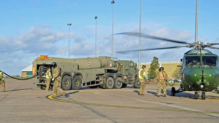 Lynx helicopters refuel at Wattisham Flying Station during retirement tour. Picture: STAFF SERGEANT