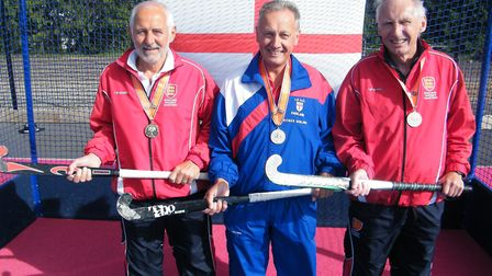 From left to right: England veteran hockey players, Terry Howlett, Roger Girling, Mike Surridge. Su