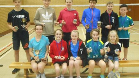 The winners at the Ipswich and District Badminton League Under 15 Championships: Top Row from left t